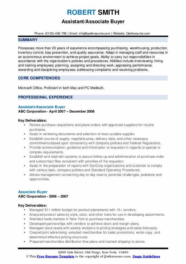 Assistant/Associate Buyer Resume Sample