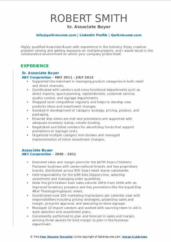 Sr. Associate Buyer Resume Format