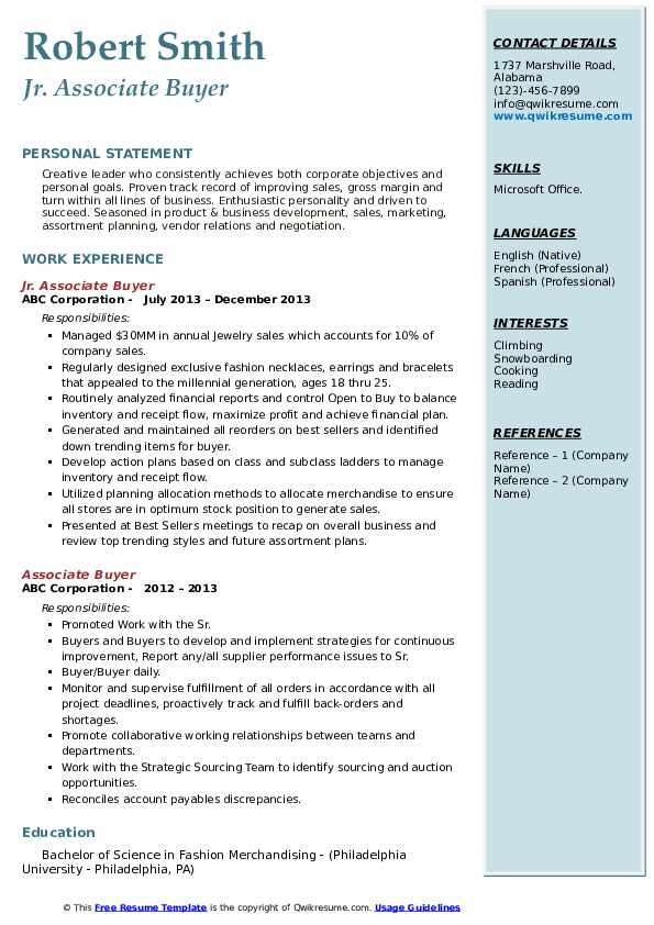 Jr. Associate Buyer Resume Template