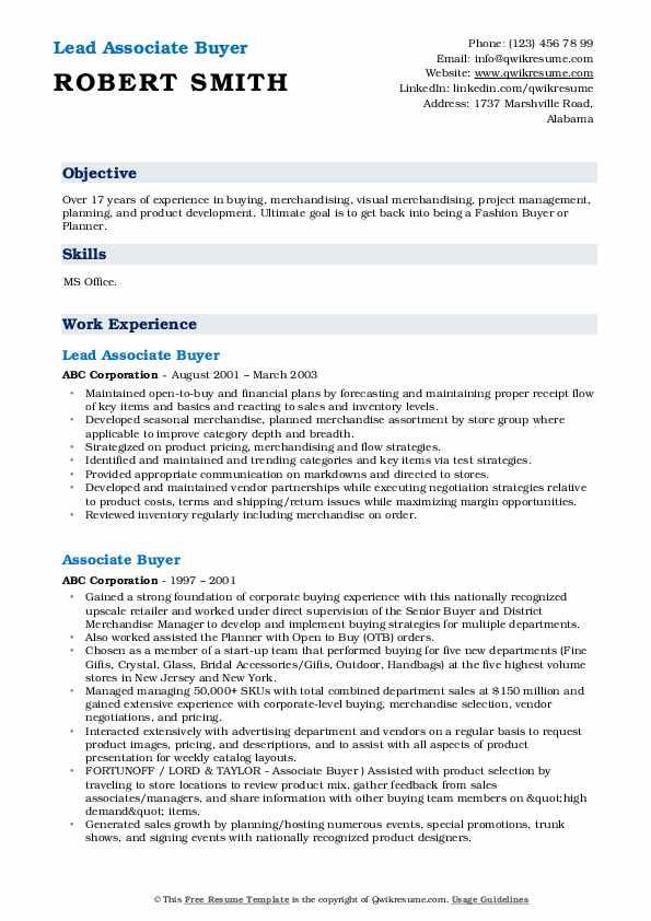 Lead Associate Buyer Resume Sample