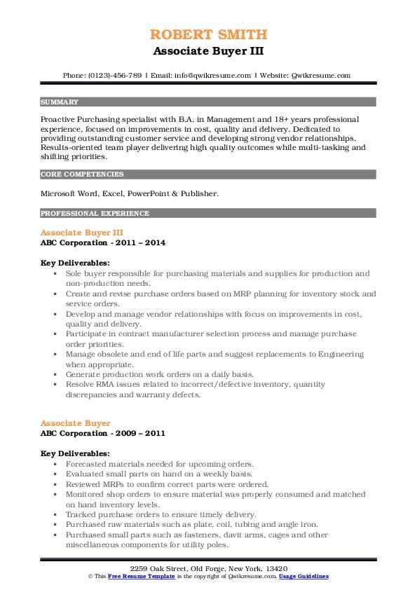 Associate Buyer III Resume Template
