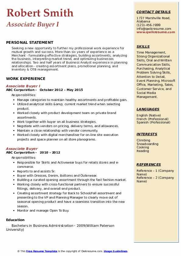 Associate Buyer I Resume Format
