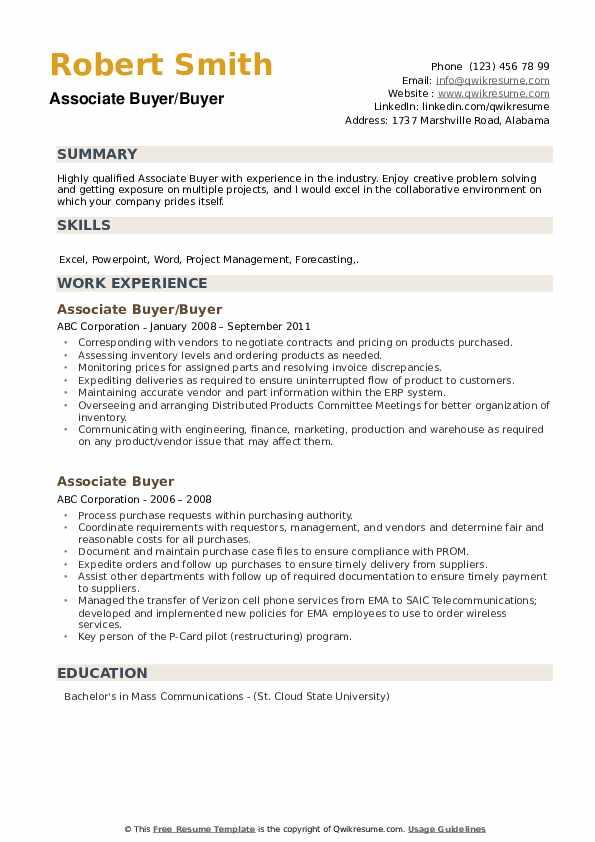 Associate Buyer/Buyer Resume Model