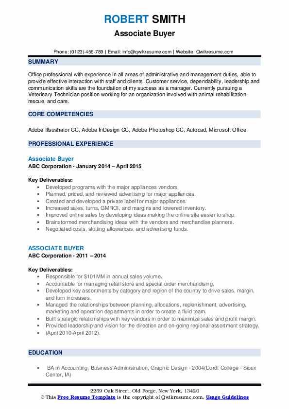 Associate Buyer Resume example