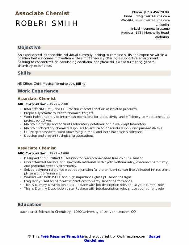Associate Chemist Resume example