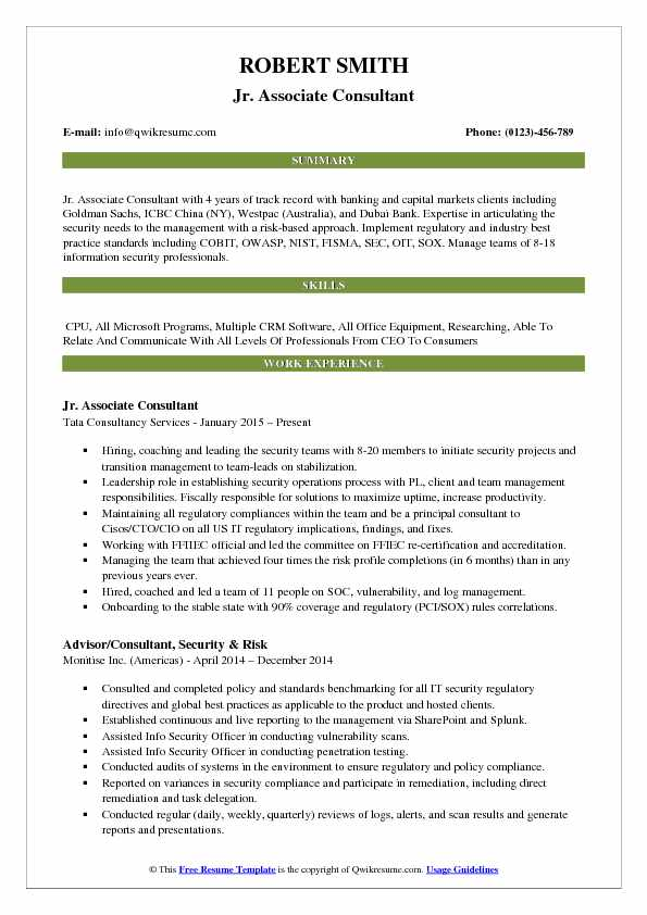 Jr. Associate Consultant Resume Example