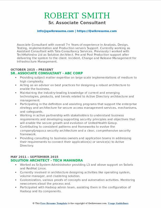 Sr. Associate Consultant Resume Template