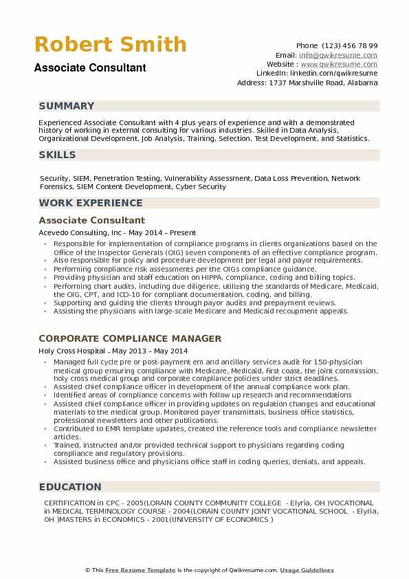 Associate Consultant Resume Sample