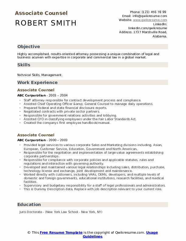 Associate Counsel Resume example