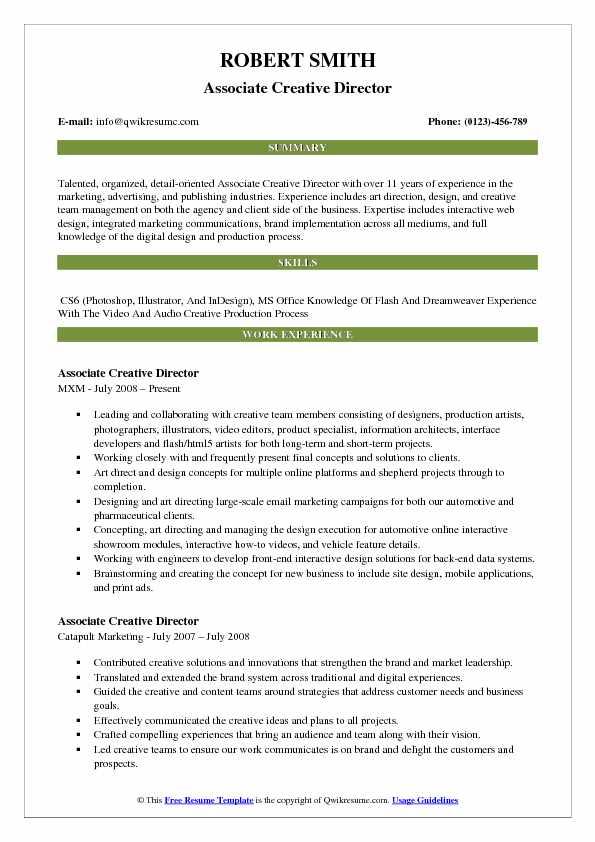 Associate Creative Director Resume Model