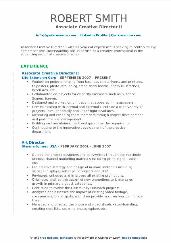 Associate Creative Director II Resume Example