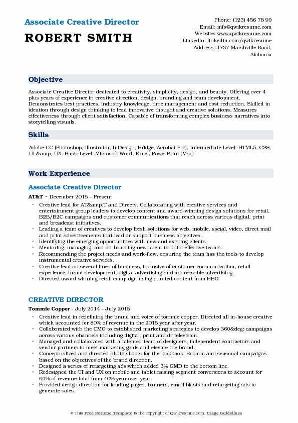 Associate Creative Director Resume Format