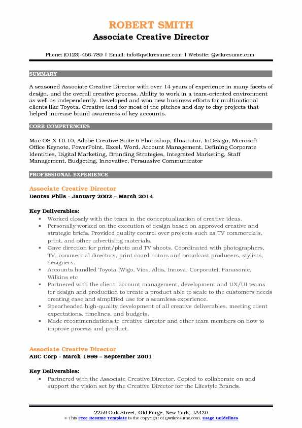 associate creative director resume samples qwikresume
