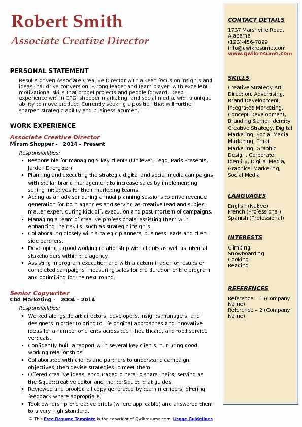 associate creative director resume samples