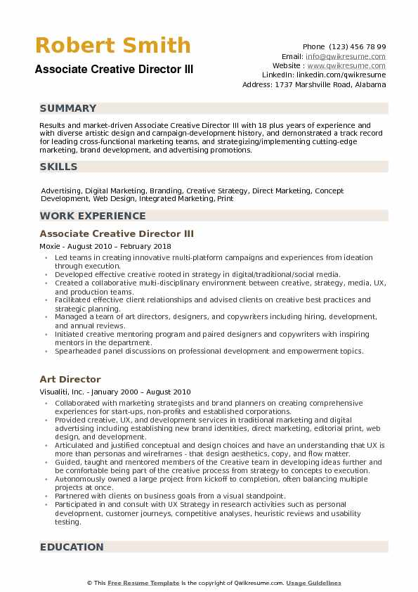 Associate Creative Director III Resume Sample