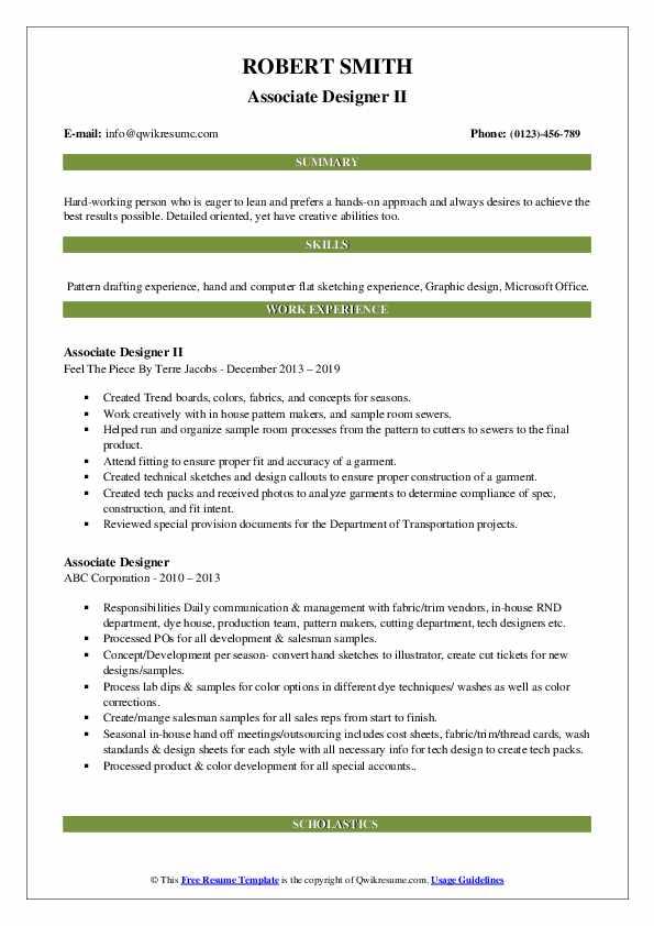 Associate Designer II Resume Model