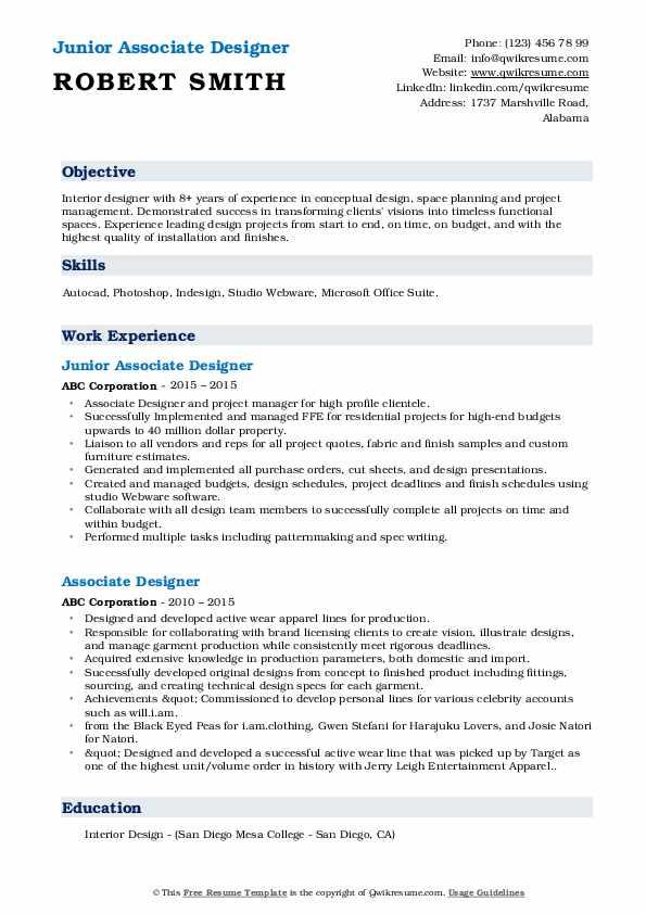 Junior Associate Designer Resume Example