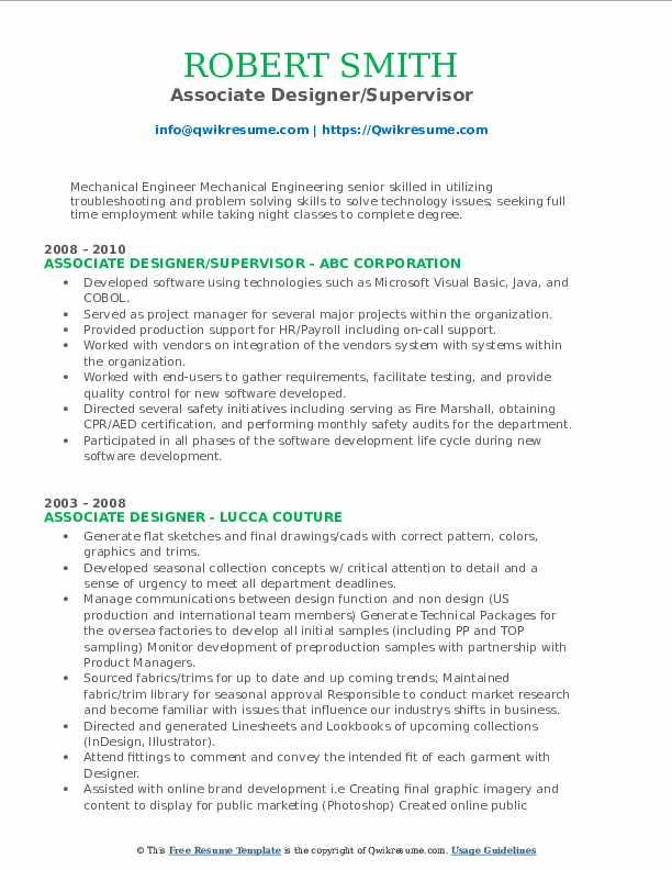 Associate Designer/Supervisor Resume Model