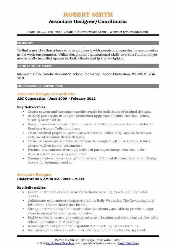 Associate Designer/Coordinator Resume Example