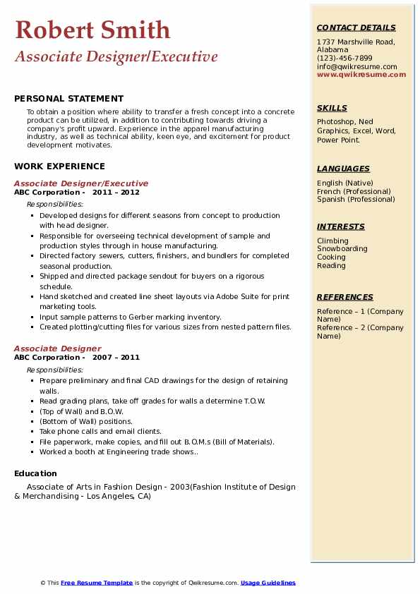 Associate Designer/Executive Resume Sample