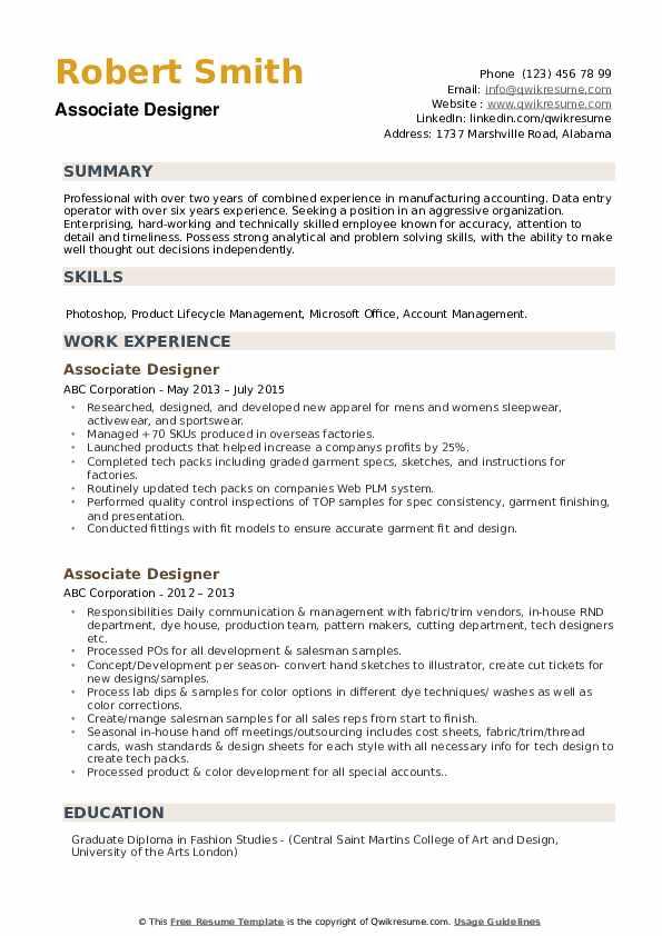 Associate Designer Resume example