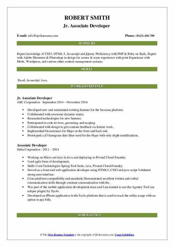 associate developer resume samples