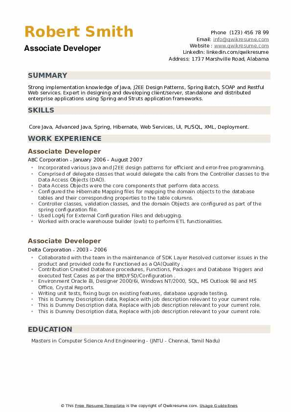 Associate Developer Resume example