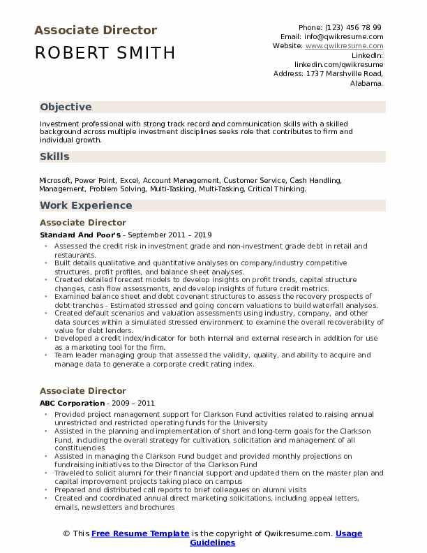 Associate Director Resume example