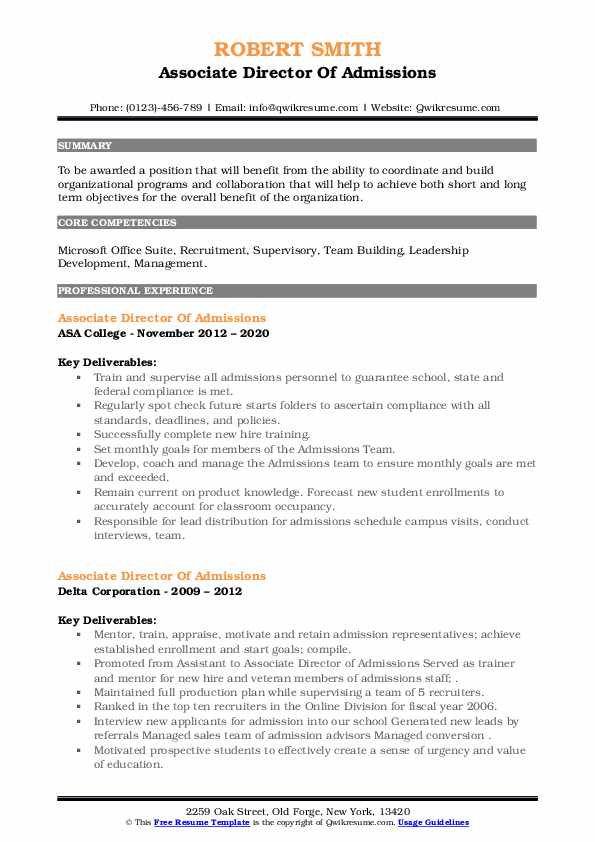 associate director of admissions resume samples