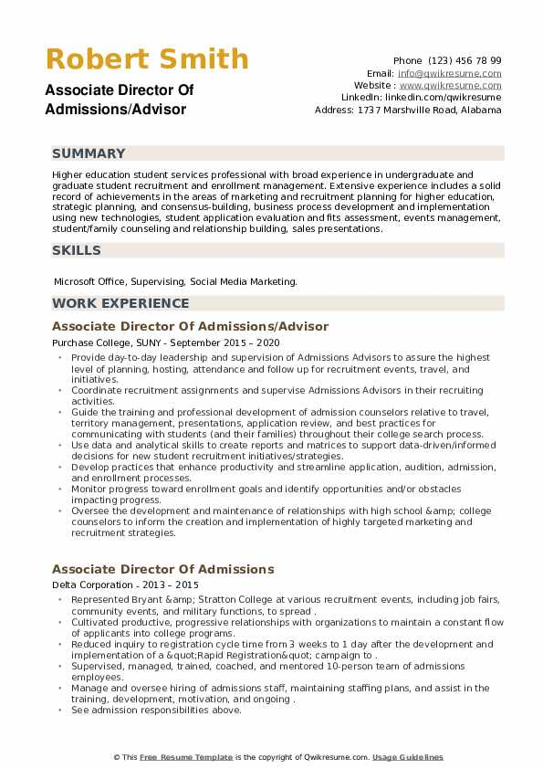 Associate Director Of Admissions Resume example