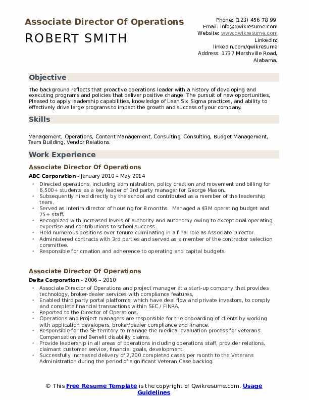 associate director of operations resume samples