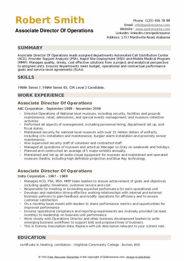 Associate Director Of Operations Resume example
