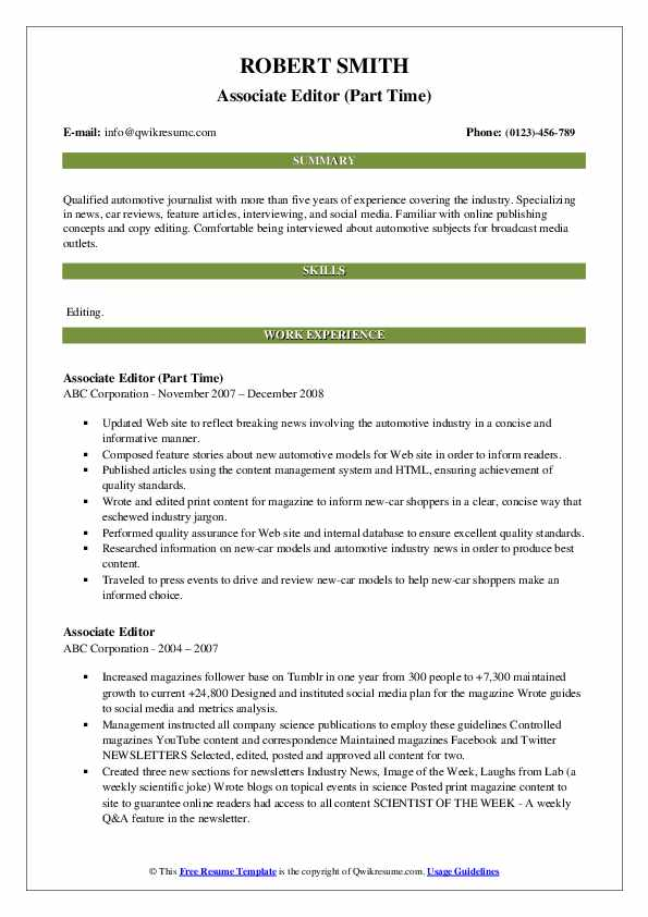 Associate Editor (Part Time) Resume Sample