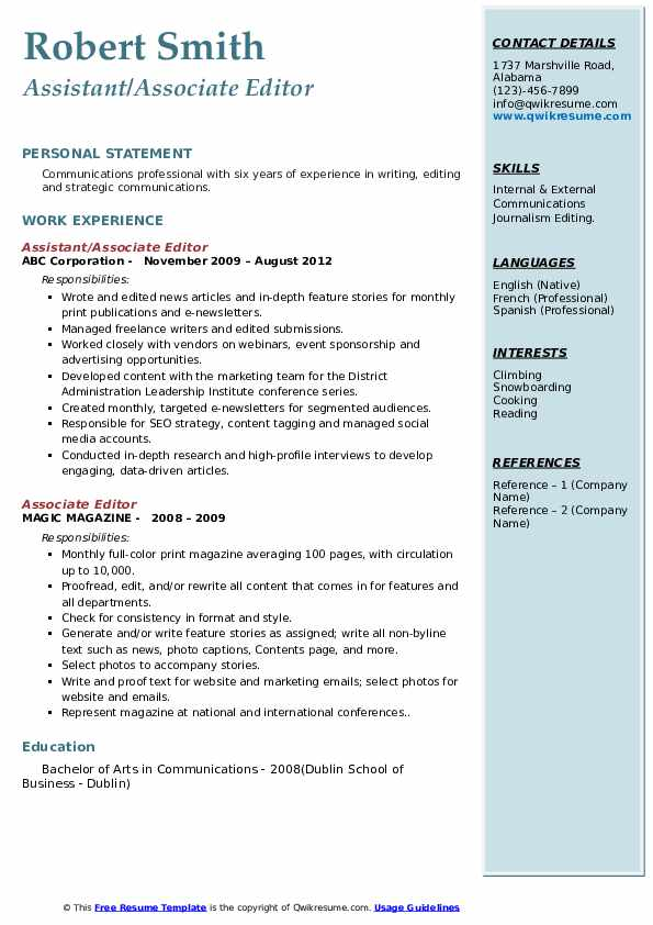 Assistant/Associate Editor Resume Example