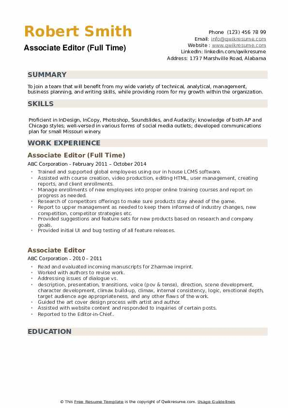 Associate Editor (Full Time) Resume Template