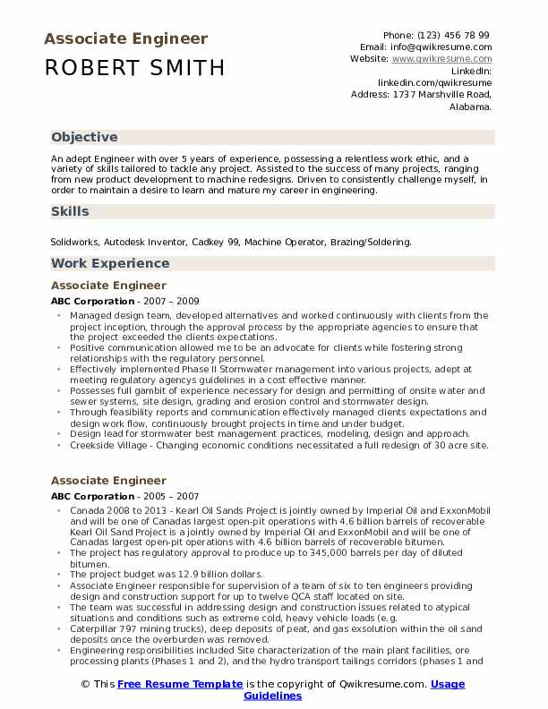 Associate Engineer Resume Samples Qwikresume