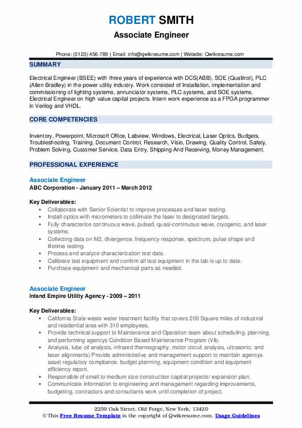 Associate Engineer Resume example