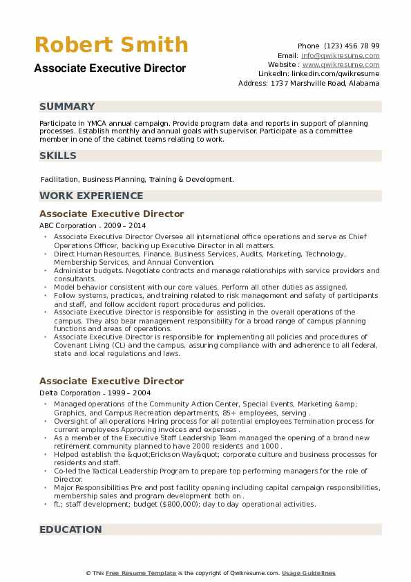 Associate Executive Director Resume example