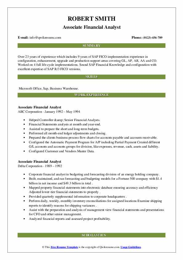associate financial analyst resume samples