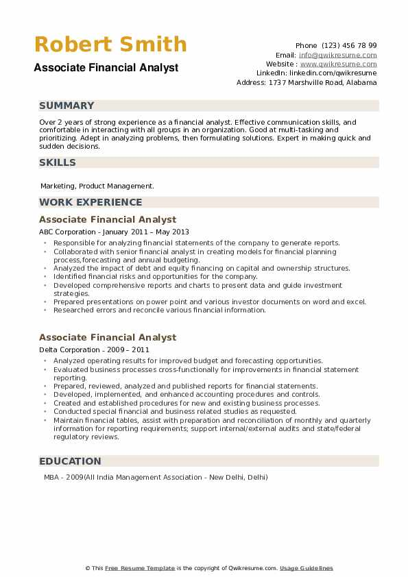 Associate Financial Analyst Resume example