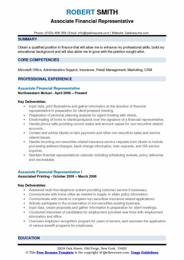 Associate Financial Representative Resume Format