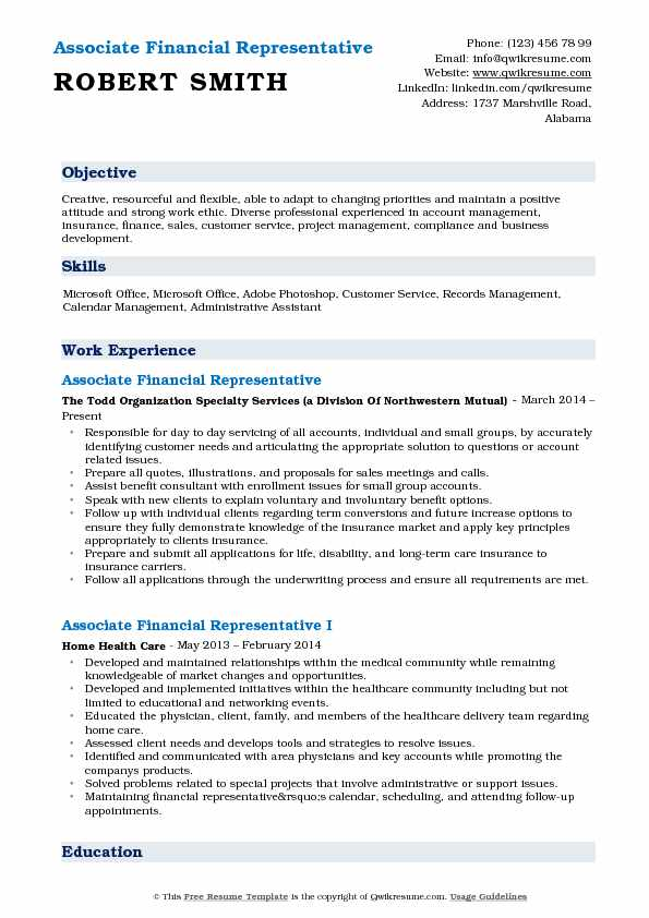 associate financial representative resume samples