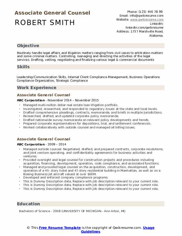 Associate General Counsel Resume Samples Qwikresume