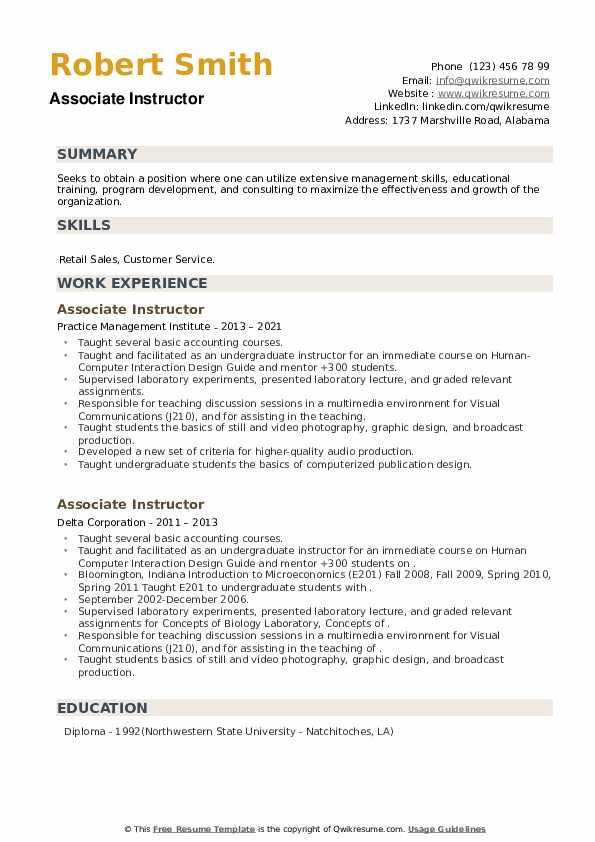 Associate Instructor Resume example