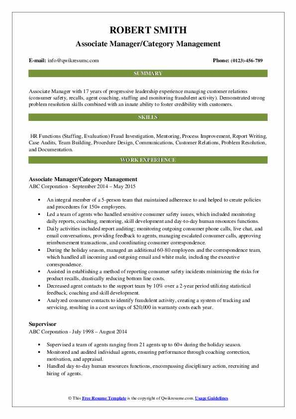 Associate Manager/Category Management Resume Example