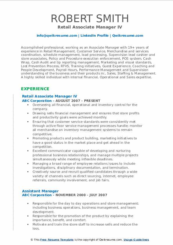 Retail Associate Manager IV Resume Format