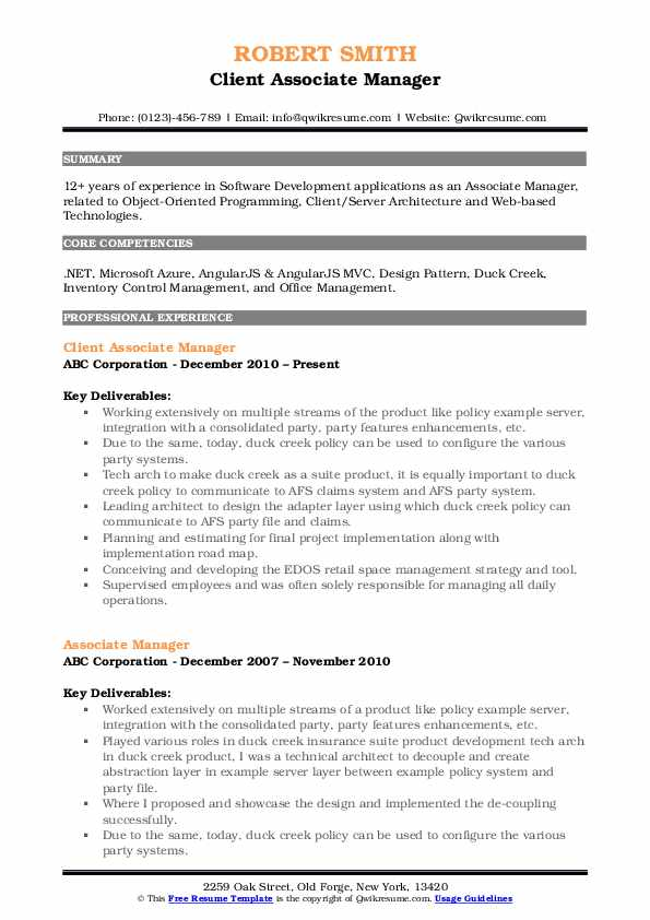 Client Associate Manager Resume Sample