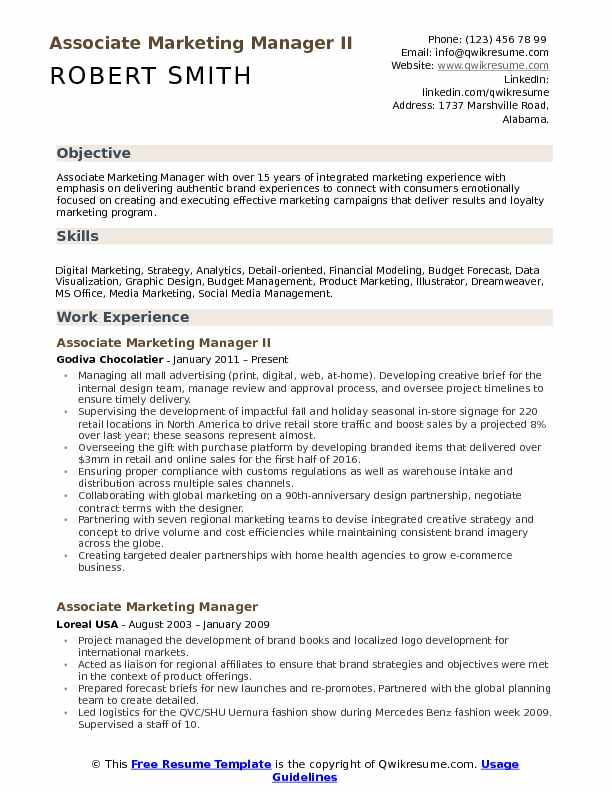 Associate Marketing Manager II Resume Sample