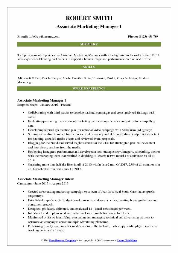 Associate Marketing Manager I Resume Example