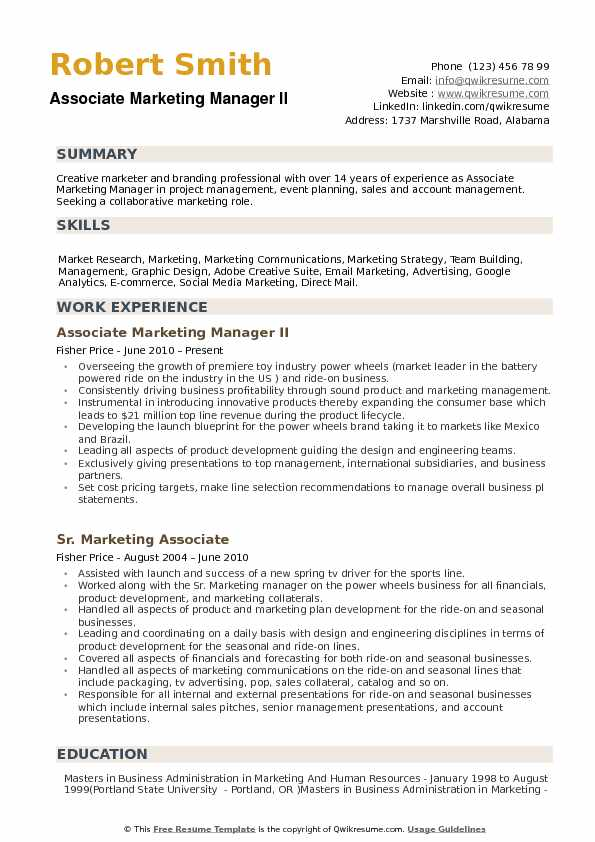 Associate Marketing Manager Resume Samples | QwikResume